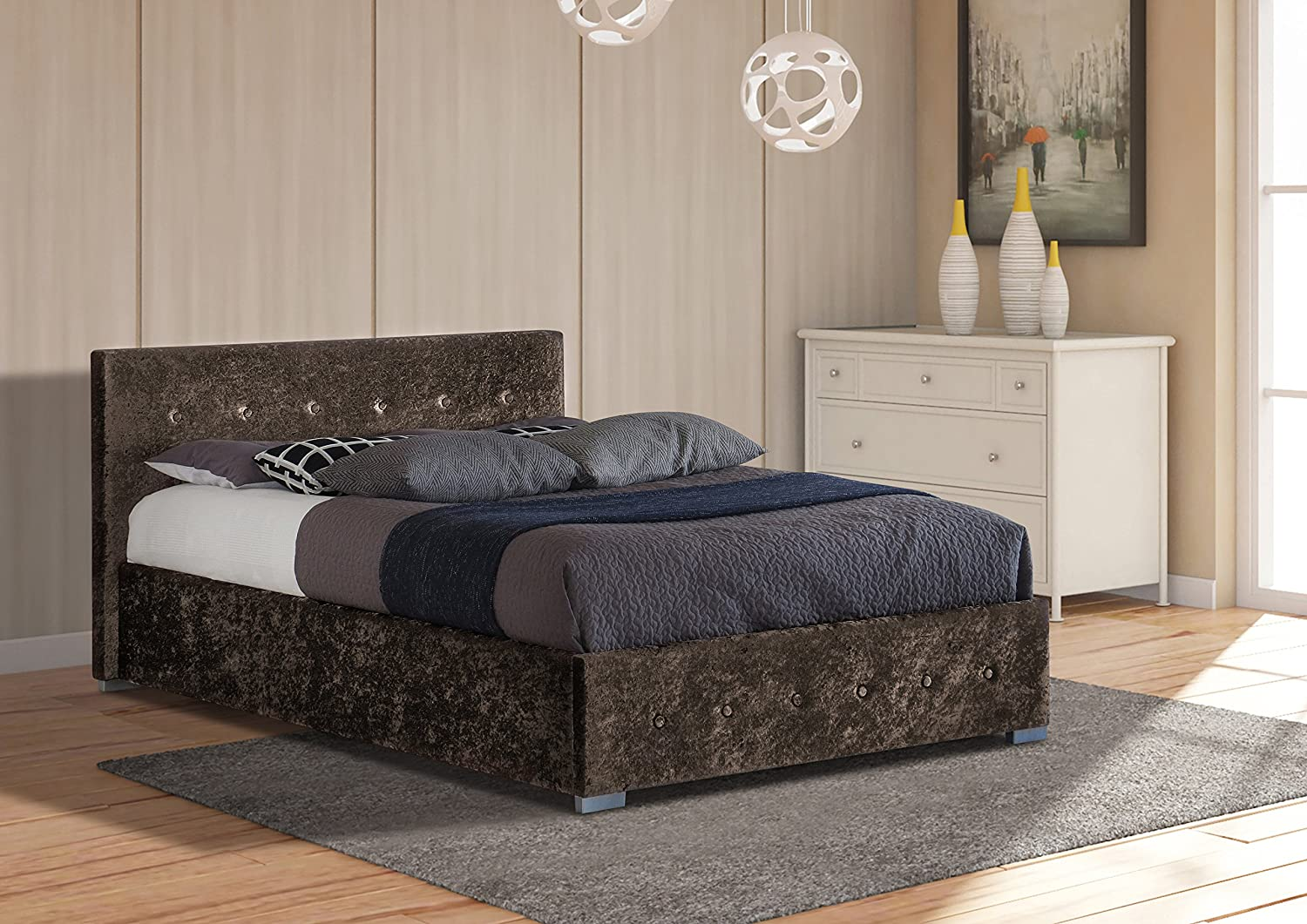Comfy Living 4ft6 Double Crushed Velvet Storage Ottoman Bed Brown Amazon Co Uk Kitchen Home