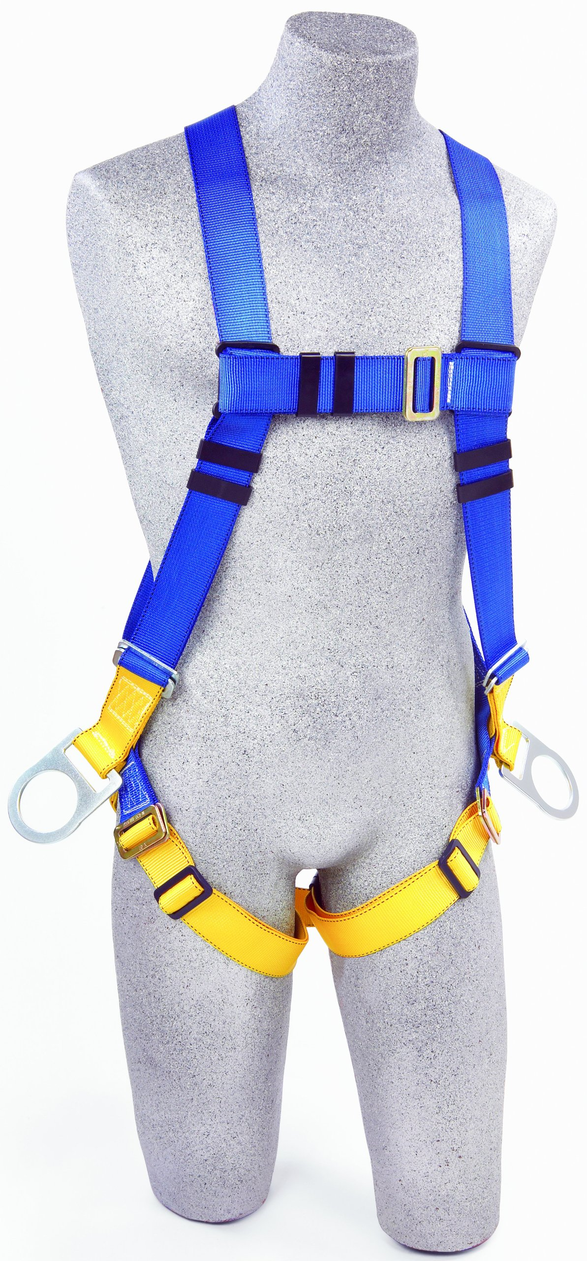 3M Protecta First AB17540 Fall Protection 5-Point Adjustment Full Body Harness with Back and Side D-Rings, Universal, 310  lb., Blue/Yellow