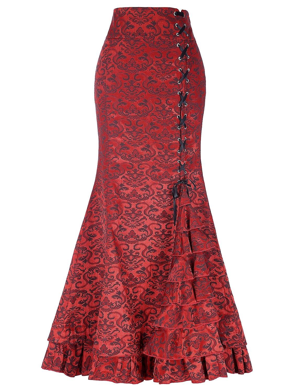 Belle Poque Retro Gothic Mermaid Skirt Stretchy Ruffled Fishtail 44'' Long Skirt Black Grey Wine Claret