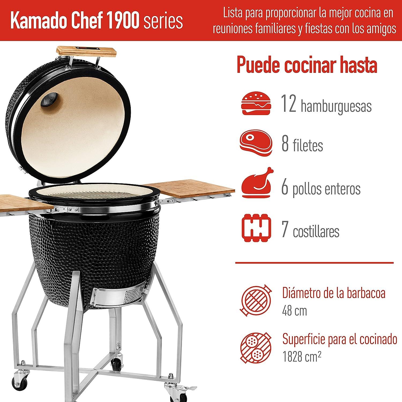 Kamado Chef Barbacoa de cerámica 1900 Prestige Diamond Black, Parrilla de carbón para brasear, Hornear, ahumar - Una Experiencia Culinaria Extraordinaria: ...