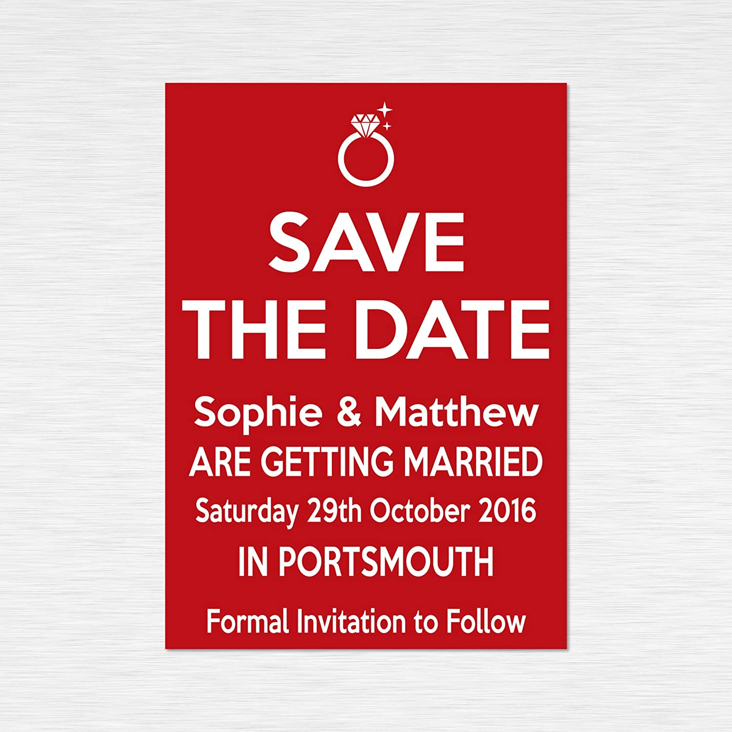Set of 50Personalised Handmade Wedding Save the Date cards, \'Keep ...