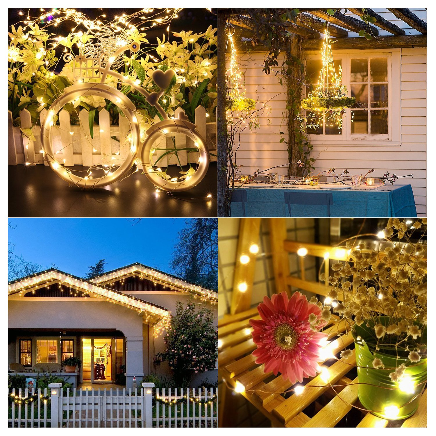 String Lights 2 Set 100 LED Christmas Fairy Lights with Remote Control(Timer),Warmtaste 33ft String Waterproof Copper Wire, Decor Rope Lights for Bedroom,Patio,Garden,Parties,Wedding(Warm White ) by Warmtaste (Image #6)