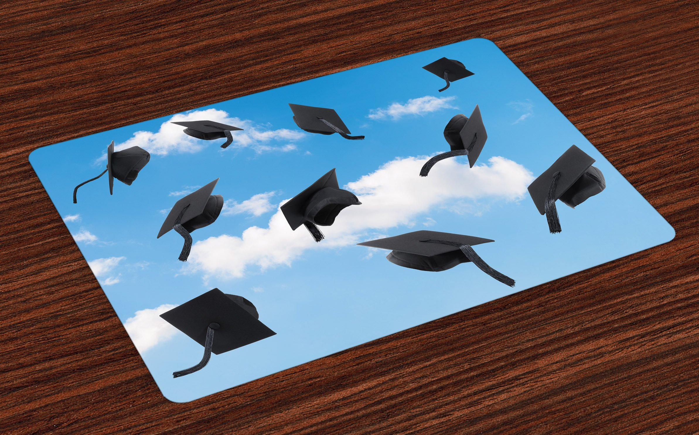 Lunarable Graduation Place Mats Set of 4, Caps Thrown into Sky Last of The School Highschool College Ceremony Picture, Washable Fabric Placemats for Dining Room Kitchen Table Decoration, Blue Black