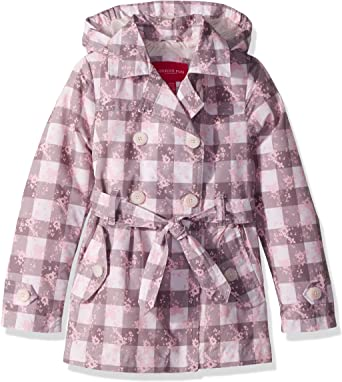 Pink Butterflies London Fog Girls Lil Lightweight Trench Dress Coat Jacket 5//6