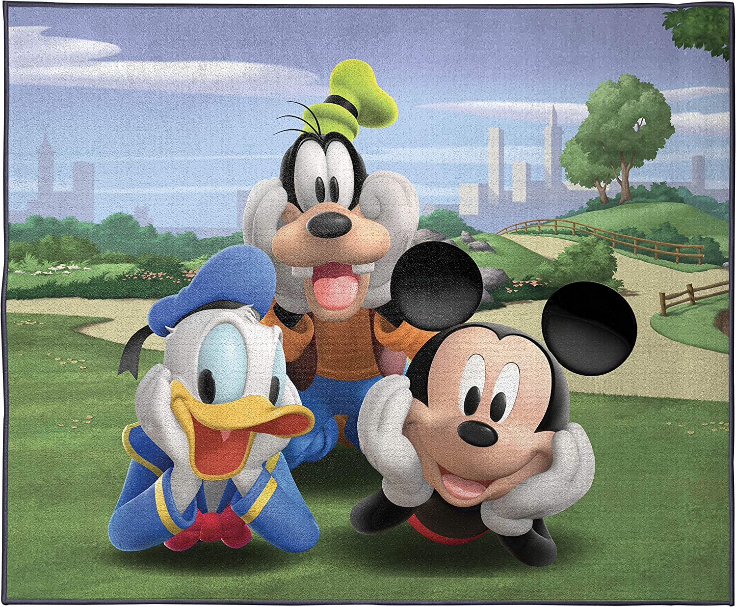Disney Junior Mickey Mouse Clubhouse Gang Kids Room Rug - Large Area Rug Measures 4 x 5 Feet - Features Donald Duck & Goofy (Official Disney Junior Product)