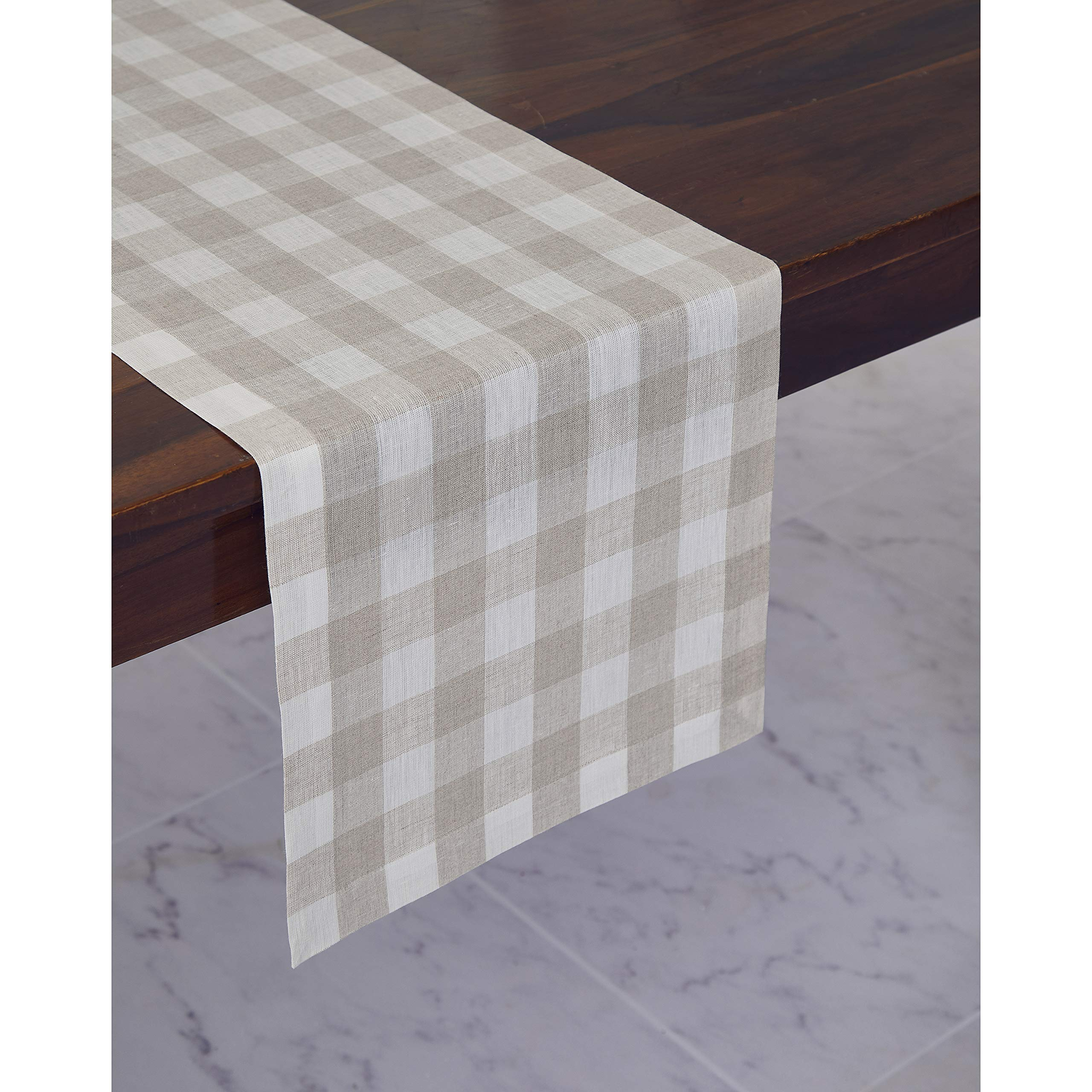 Solino Home 100% Pure Linen Checks Table Runner - Natural & White Check Table Runner - 14 x 72 Inch Runner for Dinner, Indoor and Outdoor Use