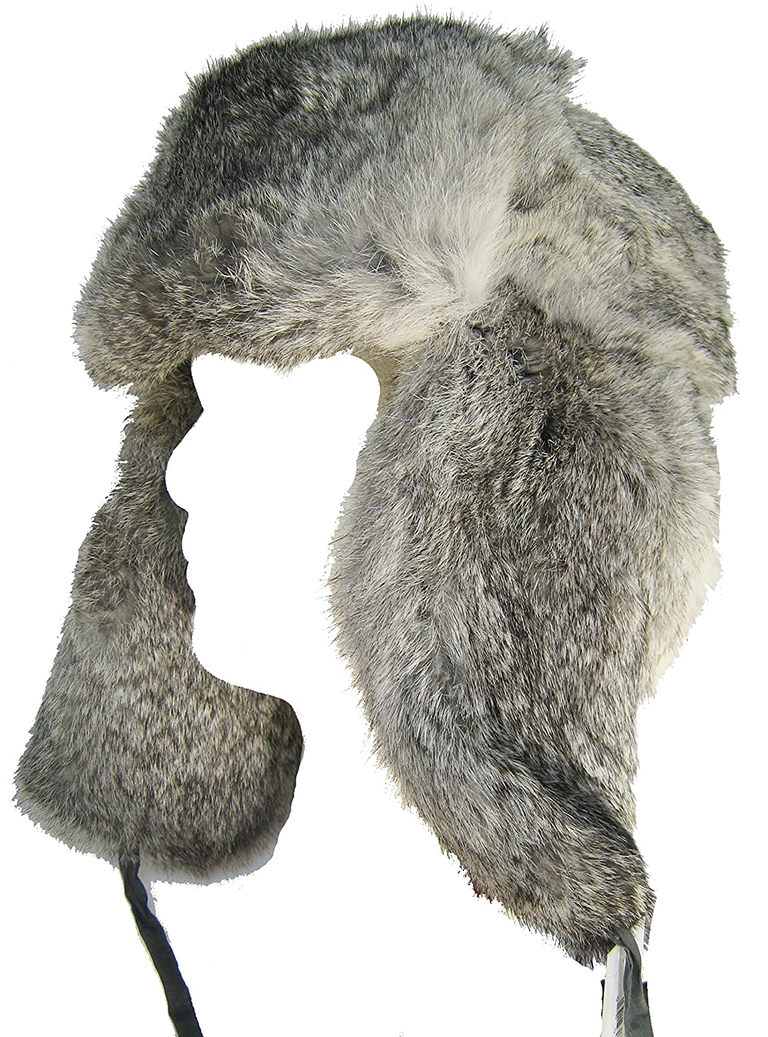Klondike Sterling Russian Rabbit Fur Trooper Hat Ear Flaps Grey 9H6621 Trapper