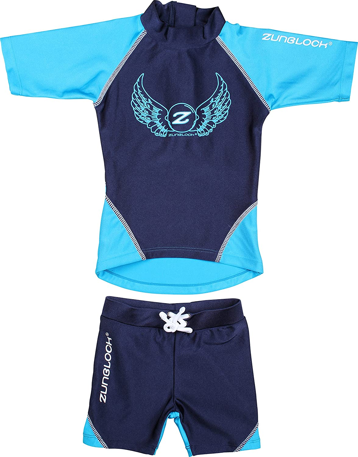 Zunblock UV-Set with Short Sleeves, Rocky Navy/Turquoise, 122/128cm 2370057