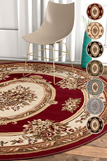Pastoral Medallion Red French 5 Round 53quot Area Rug European