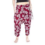 Buddha Pants Harem Cotton Womens Drop Crotch Sunshine Pattern