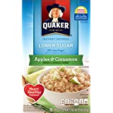 Quaker Instant Oatmeal, Lower Sugar, Apples & Cinnamon, Breakfast Cereal, 1.09 ounce,10 count  (Pack of 4)