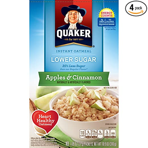 Amazon.com deals on Quaker Instant Oatmeal, Lower Sugar, Apples & Cinnamon