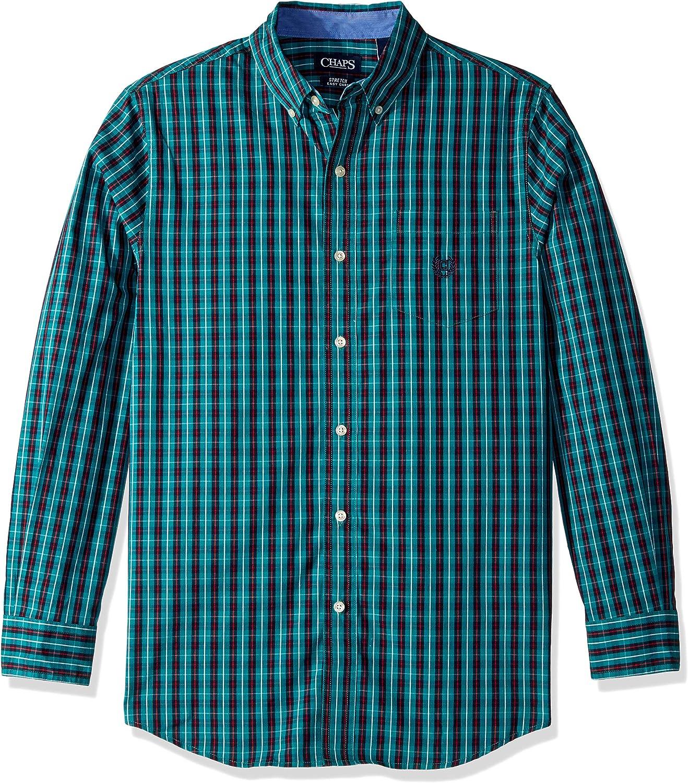 Chaps Mens Plaid Ec Stretch Long Sleeve Sport Shirt