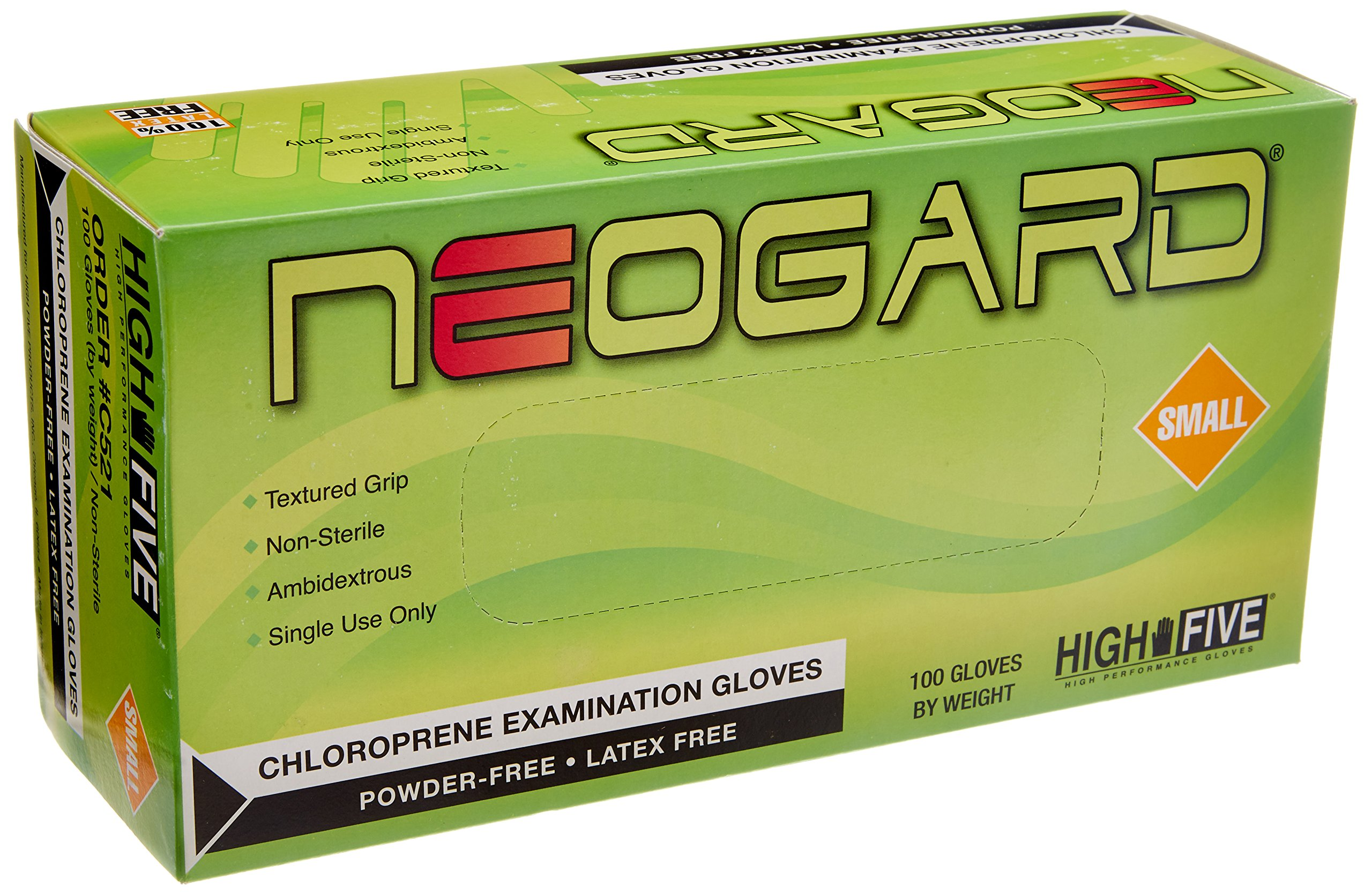 High Five Neogard C521 Chloroprene Exam Glove, Small (Case of 1000)