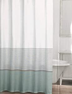 Caro Fabric Shower Curtain Narrow Horizontal Silver Stripes on White with a Wide Light Blue Stripe at Base - St Moritz, Stream…