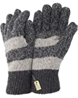 Mens Striped Knitted Thermal Gloves with Wool