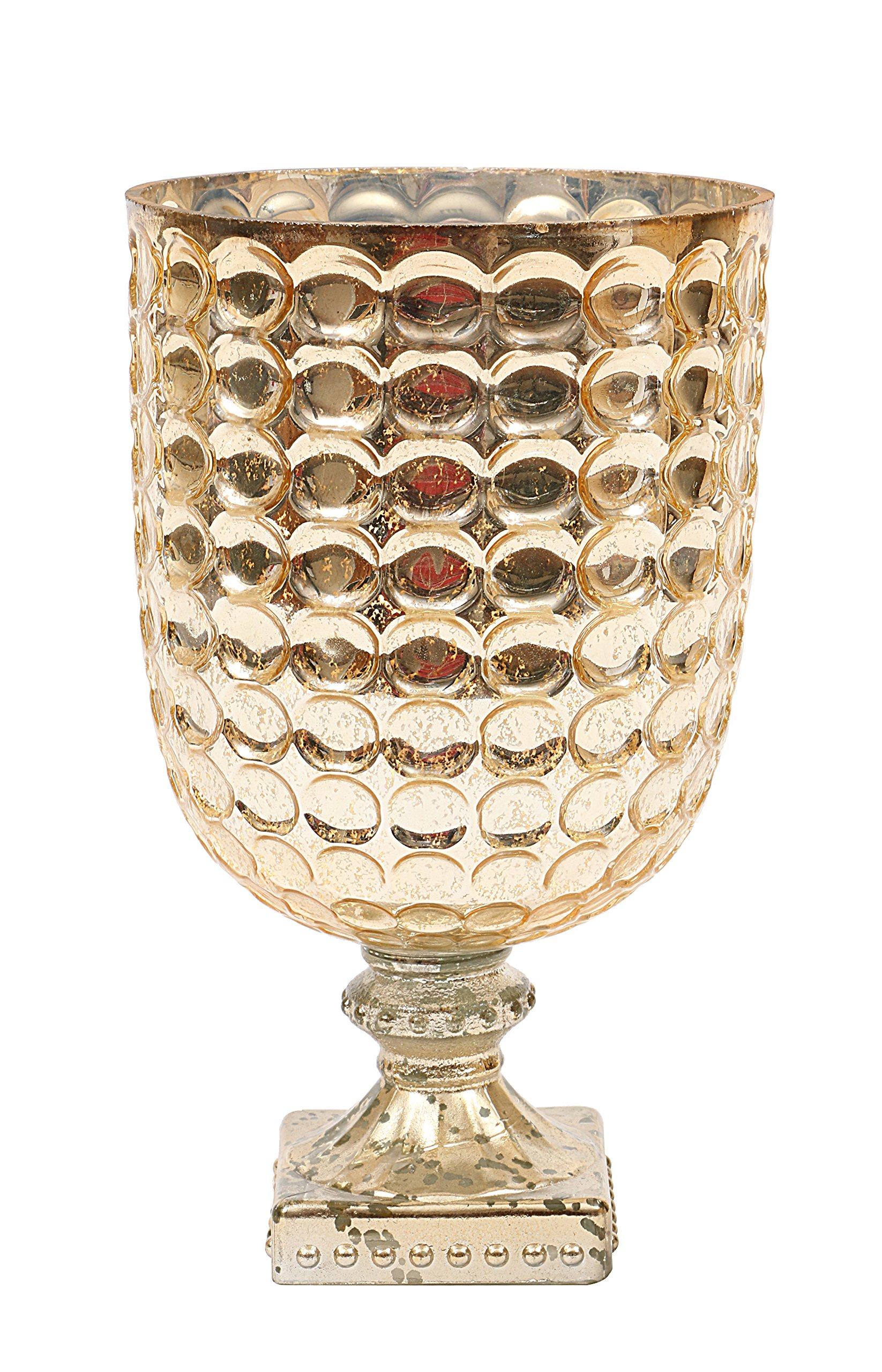 Creative Co-op XC6089 Footed Glass Candle Holder, 6 x 11, Gold