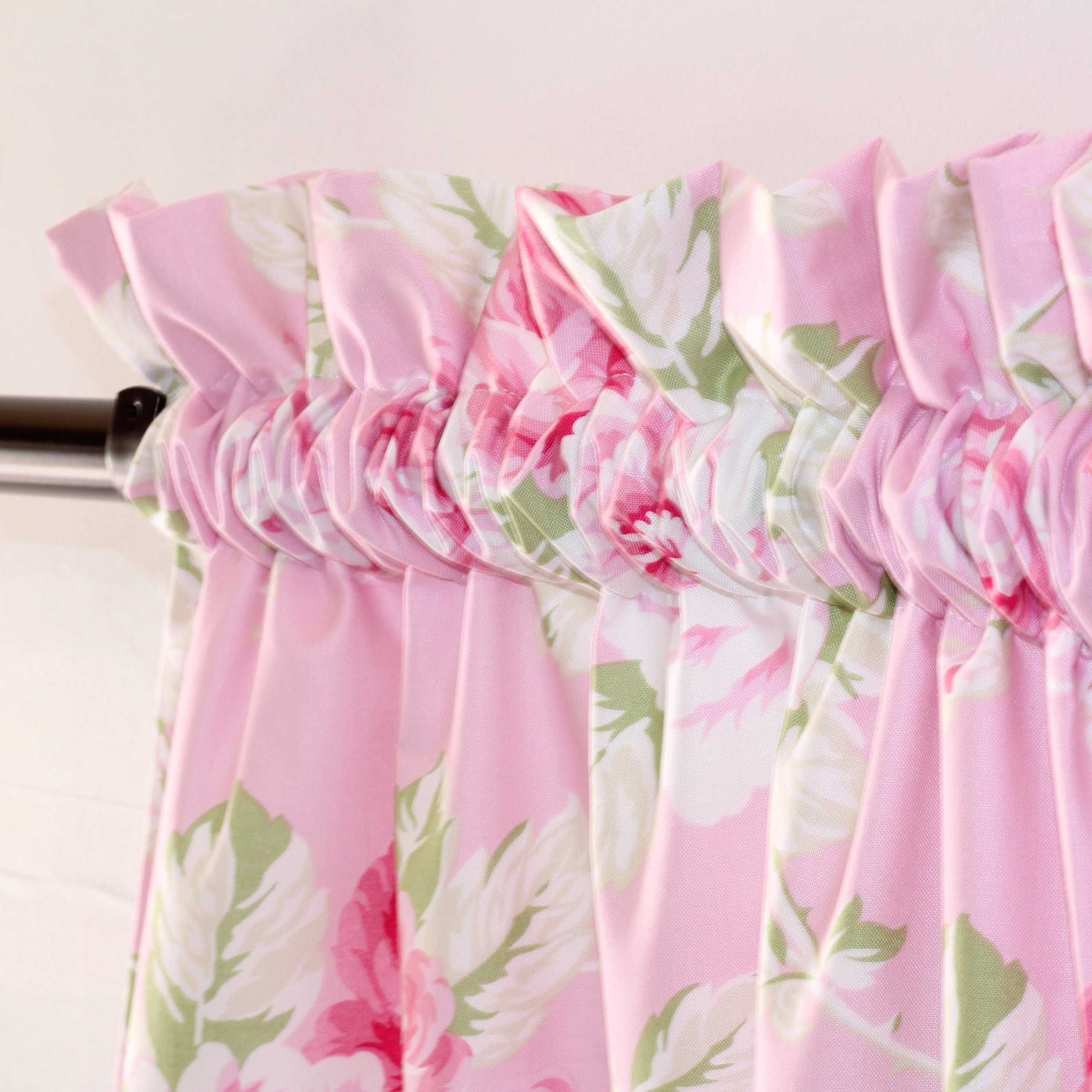 Floral Shabby Chic Roses Curtain Panel Pair - Lined