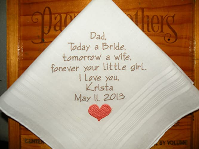embroidered handkerchiefs wedding mom dad father of the bride personalized wedding hankerchiefs handkerchiefs gifts heart poem hankies wedding custom embroidered amazoncom