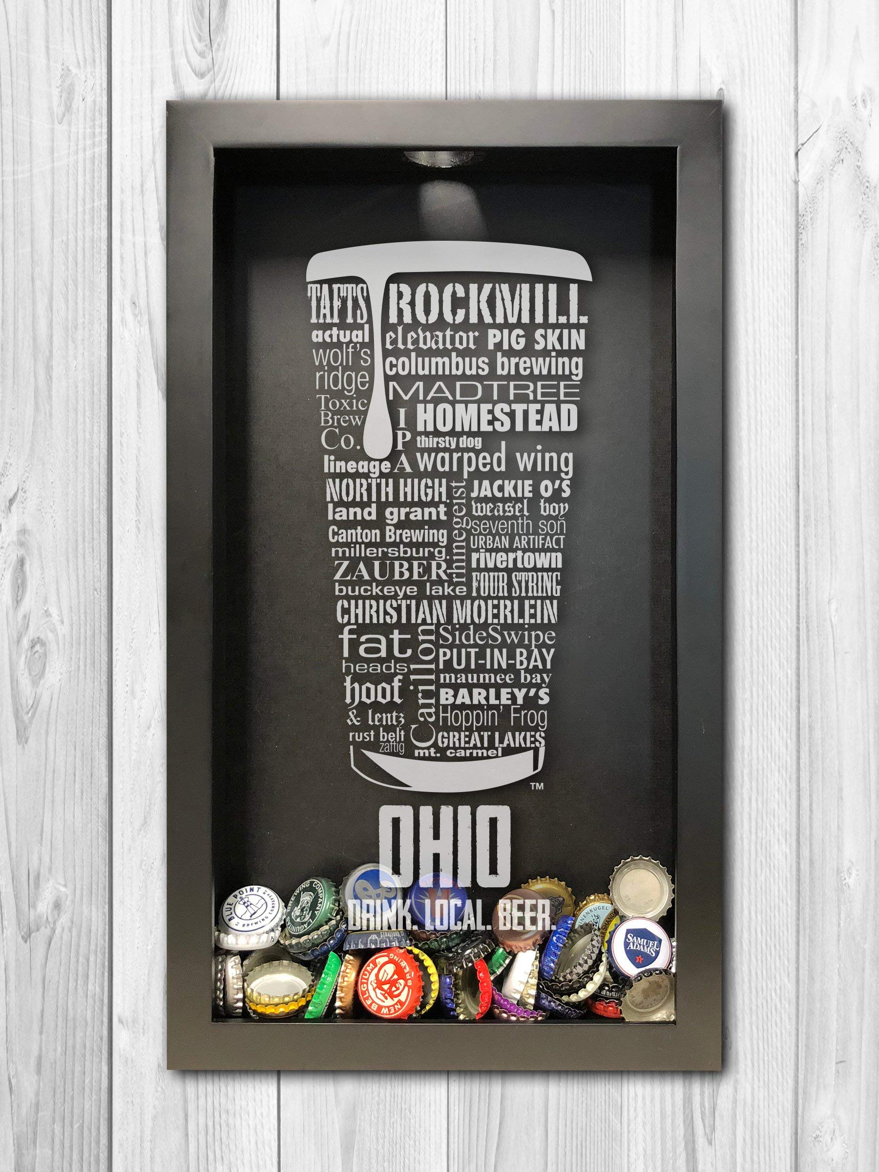 Ohio Bottle Cap Shadow Box Typography Print Beer Cap Holder Beer Gift Beer Lover