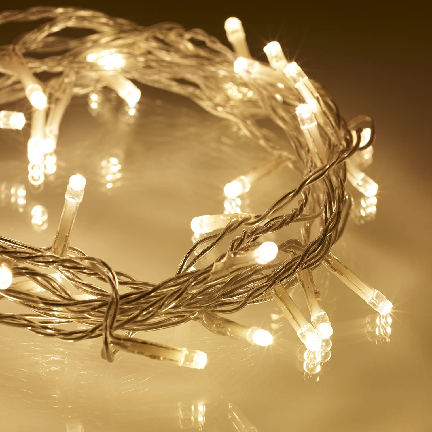 indoor fairy lights with 40 warm white leds on clear cable by