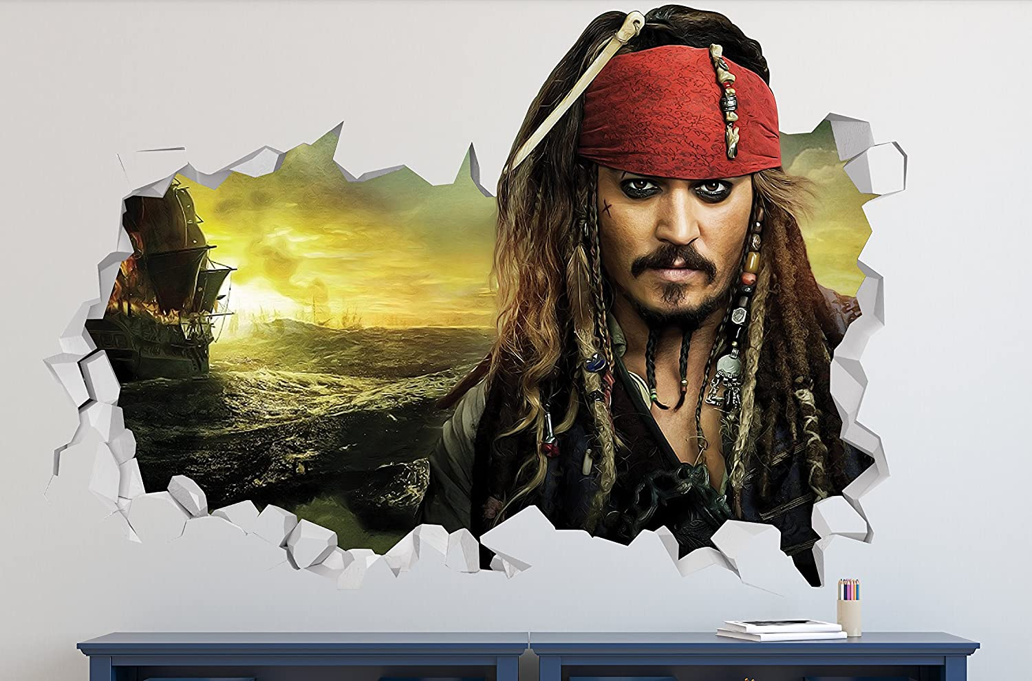 "Pirates of Caribbean Captain Jack Sparrow Wall Decal Smashed 3D Sticker Vinyl Decor Mural Kids Movie - Broken Wall - 3D Designs - LS51 (Small (Wide 22"" x 12"" Height))"