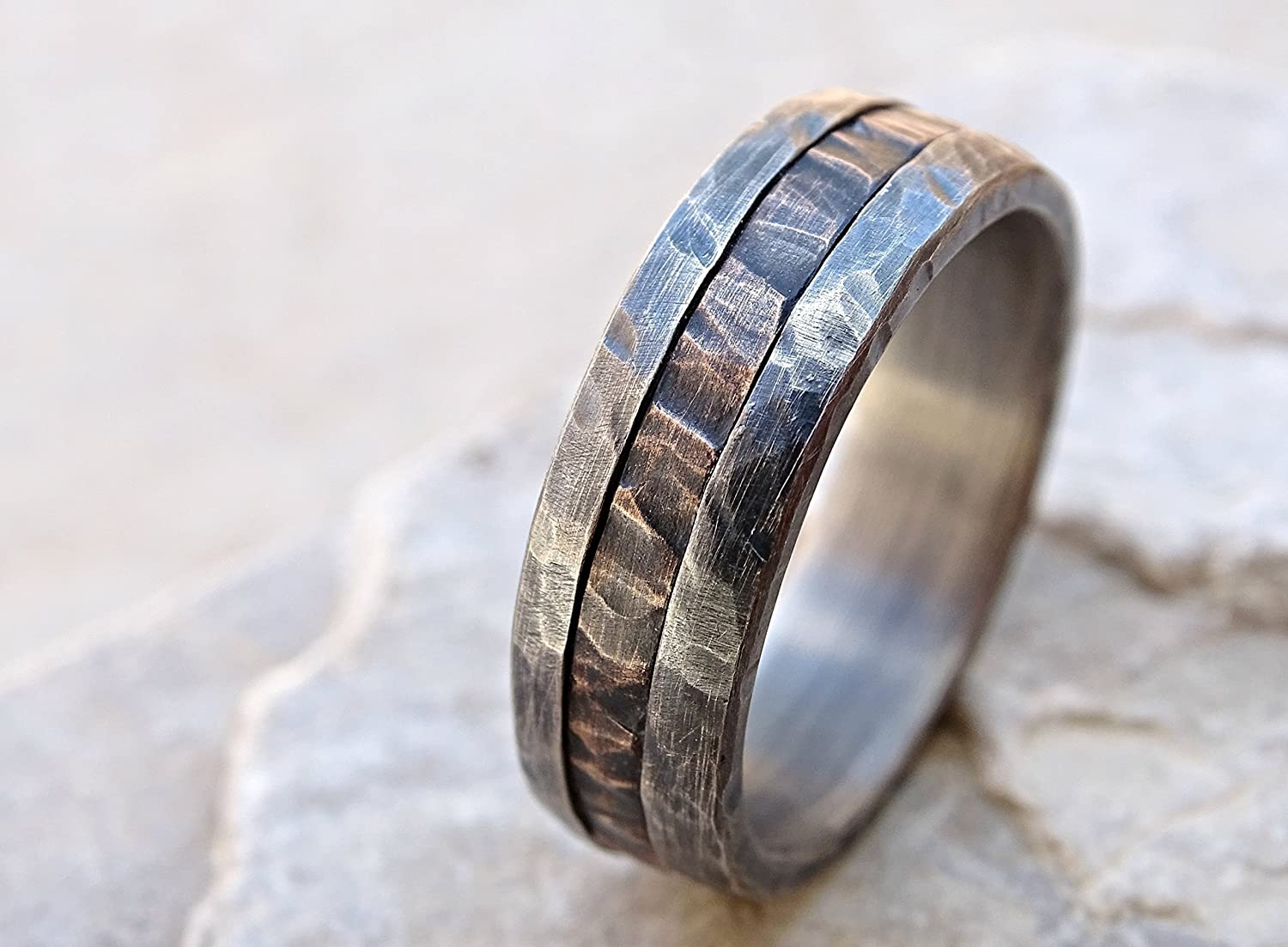 Amazon Cool Mens Ring Mixed Metal Unique Wedding Band Bronze Silver Two Tone Engagement Wood Grain Anniversary: Rustic Wedding Bands Men S At Reisefeber.org