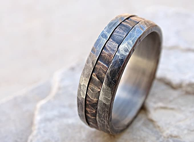 fdb60a17e9f18a Amazon.com: cool mens ring mixed metal, unique wedding band bronze silver, mens  wedding ring two tone, mens engagement ring wood grain, bronze anniversary  ...