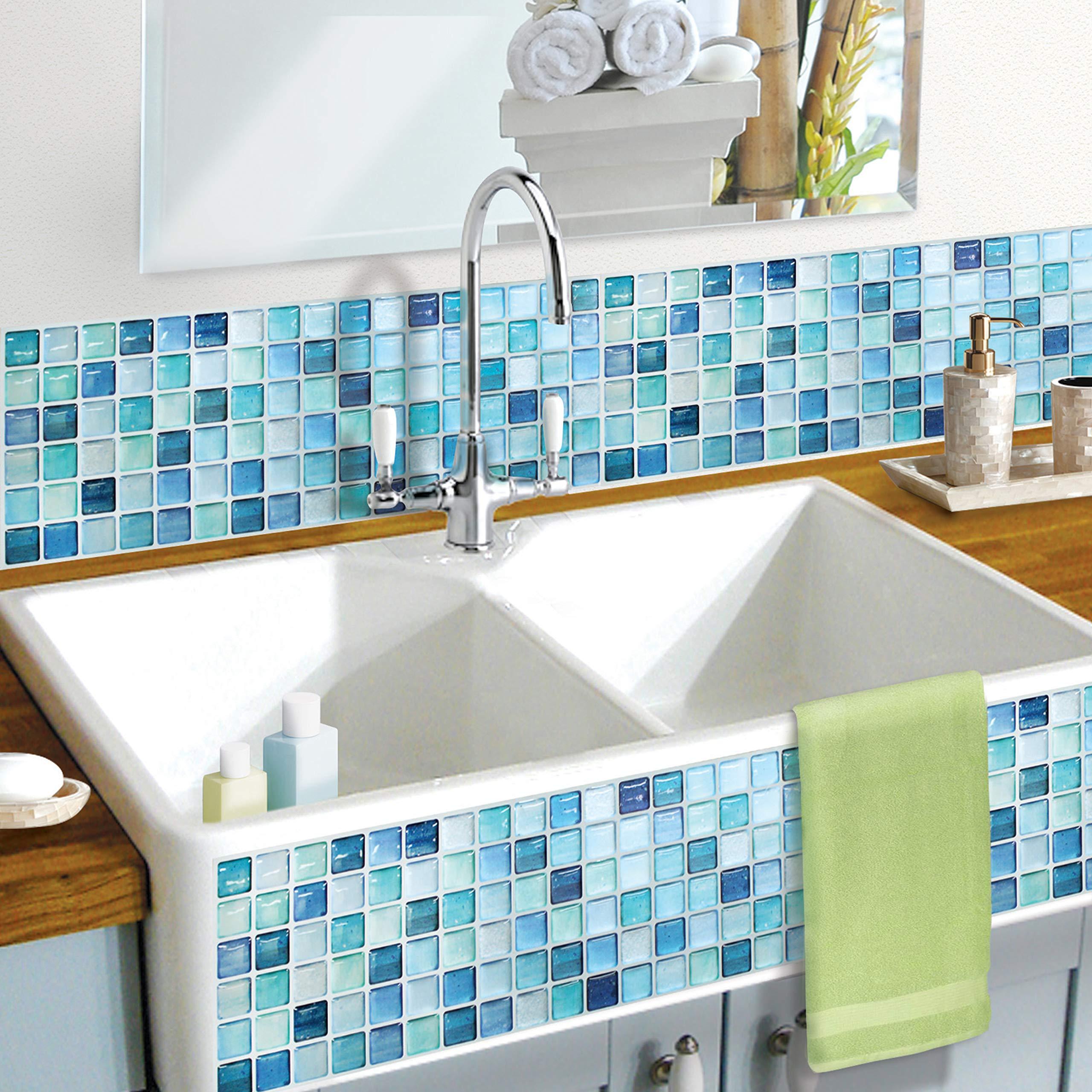 BEAUSTILE Decorative Tile Stickers Peel and Stick Backsplash Fire Retardant Tile Sheet (N.Blue) (10, 5.28'' x 14.8'') by BEAUS TILE (Image #7)