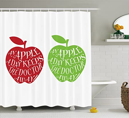 Lunarable Quote Shower Curtain, An Apple A Day Keeps The Doctor Away Quote  On Cartoon