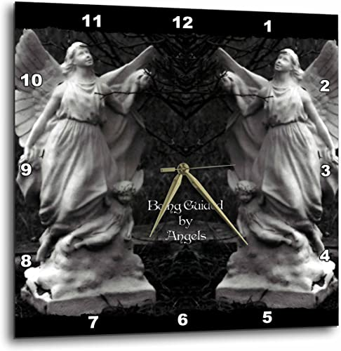 3dRose DPP_63366_3 Two Protecting Angels Standing Side by Side-Wall Clock, 15 by 15-Inch