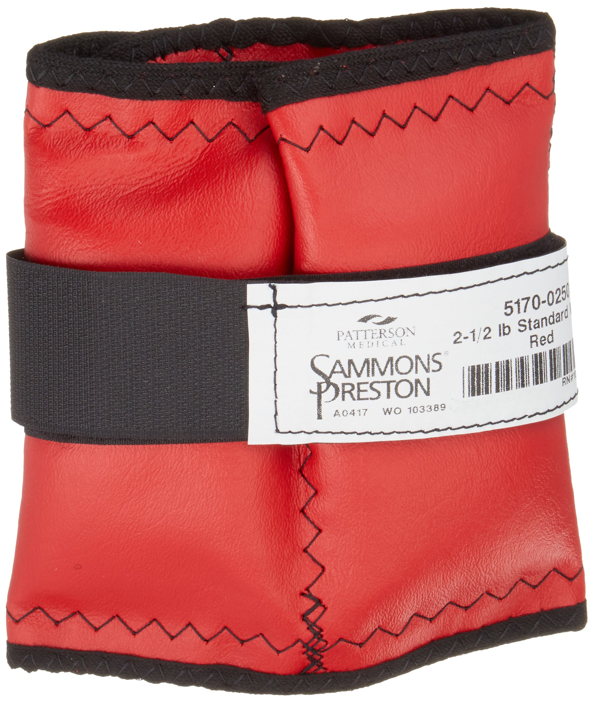 Sammons Preston Cuff Weight, 2.5 lb, Red, Velcro Strap & D-Ring Closure, Grommet for Easy Hanging, Steel Ankle & Wrist Weights are Lead Free, Exercise Tool for Strength Building & Injury Rehab