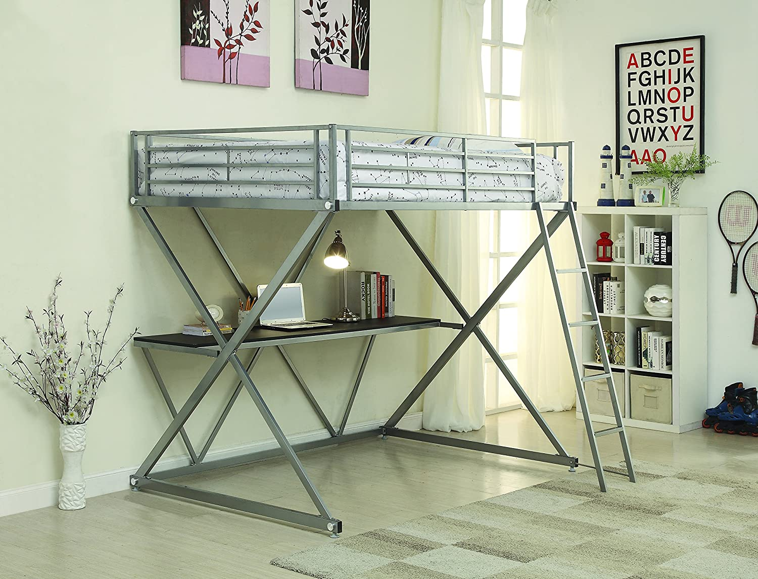 Coaster Full Workstation Loft Bed, Silver