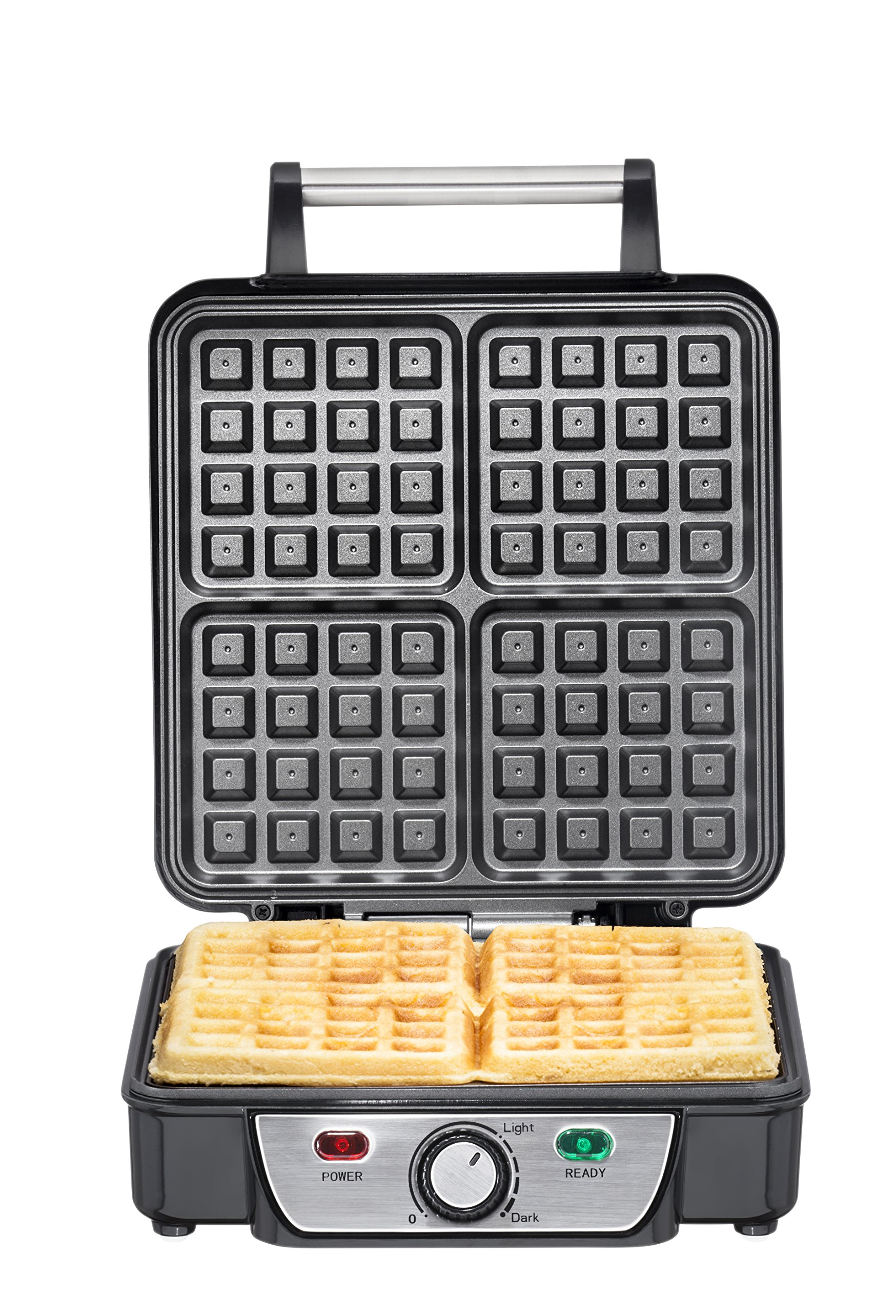 Chefman Belgian Waffle Maker, 4-Slice, Stainless Steel Non-Stick Cooking Surface, Cool Touch Handle, Adjustable Browning Control, Power/Ready Lights, Waffle Cookbook Included - RJ04-4P by Chefman (Image #4)