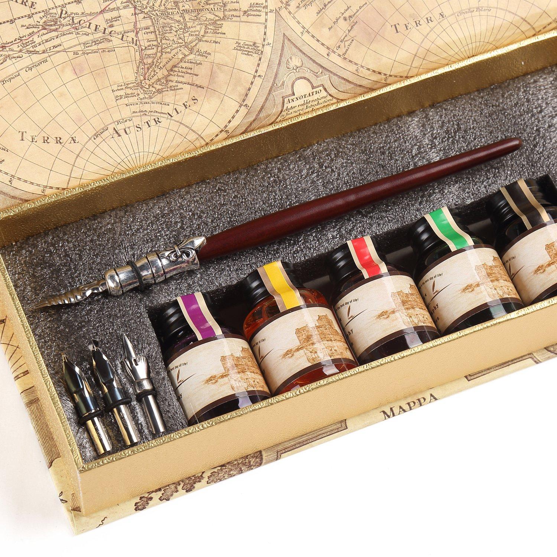 Set de caligrafía con pluma y 5 botellas de tinta (xmp)