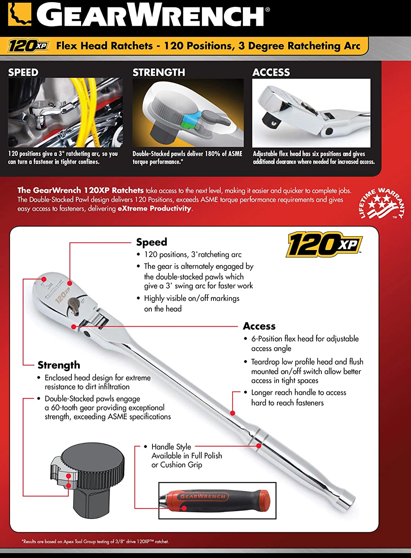 3//8-Inch GearWrench 81212P 120XP Full Polish Stubby Flex Teardrop Ratchet