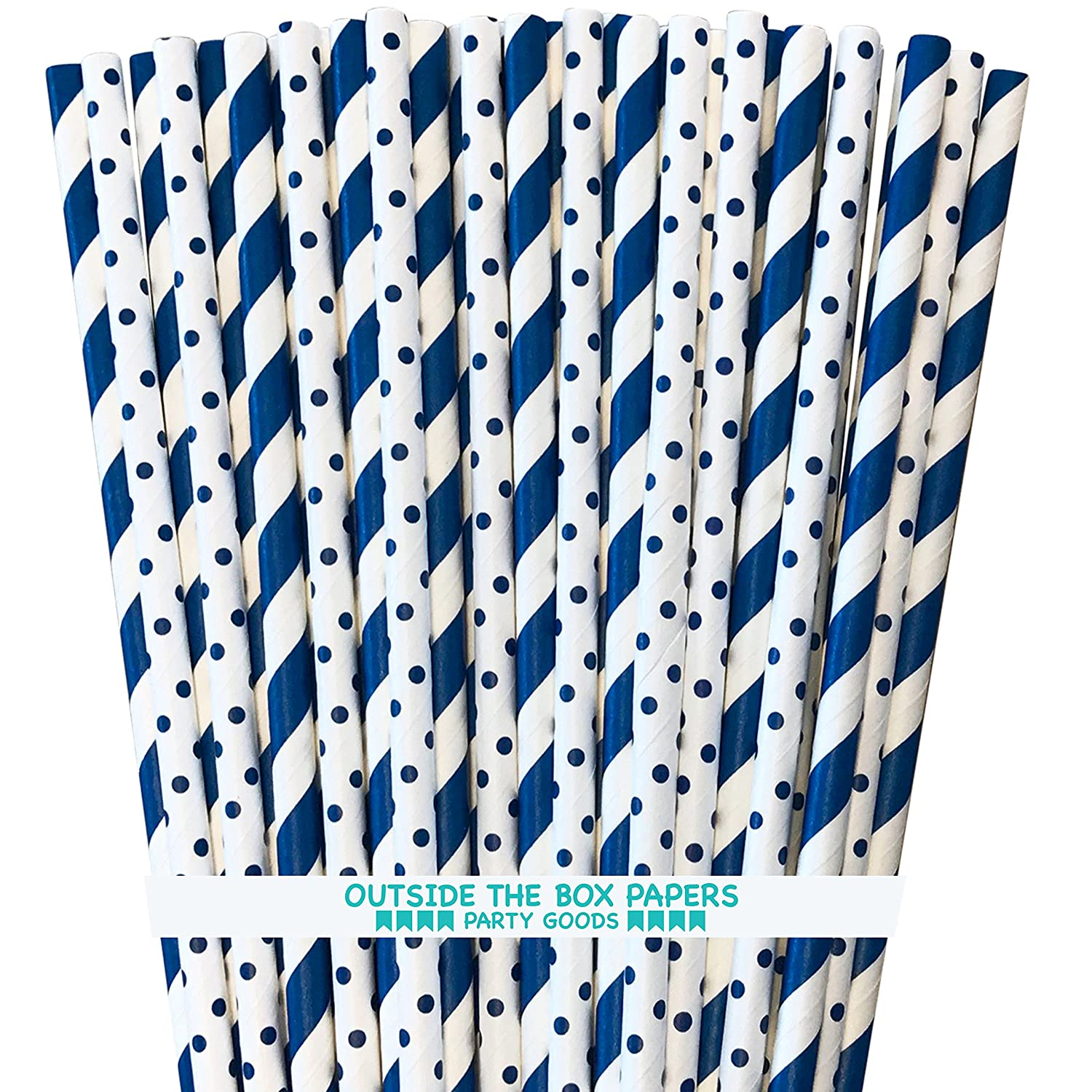 100 Pk Outside the Box Papers Light Blue and White Stripe Paper Straws