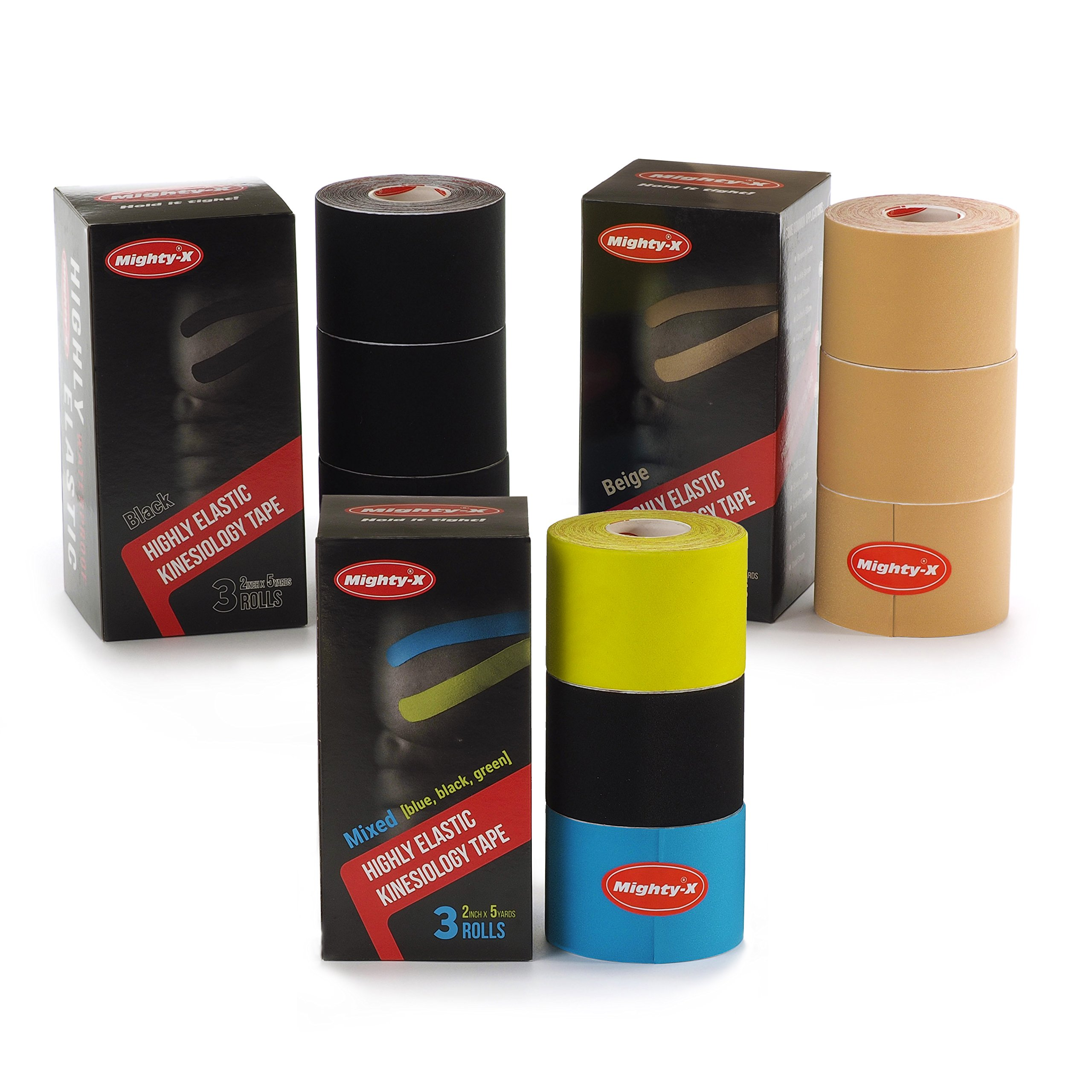 """Professional Kinesiology Tape - 3 Pack Mixed - Uncut Tape - Synthetic Kinetic Tape - Heavy Duty Sport Tape - Muscle Tape - KTape - Knee Tape - Premium Synthetic Sports Tape - K Tape - 2"""" x 5y by Mighty-X (Image #6)"""