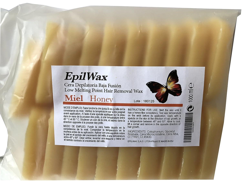 Epilwax S.A.S.–Guijarros de cera de depilar, para despegar, miel–bolsita de 1kg, cera caliente reutilizable, calidad superior profesional