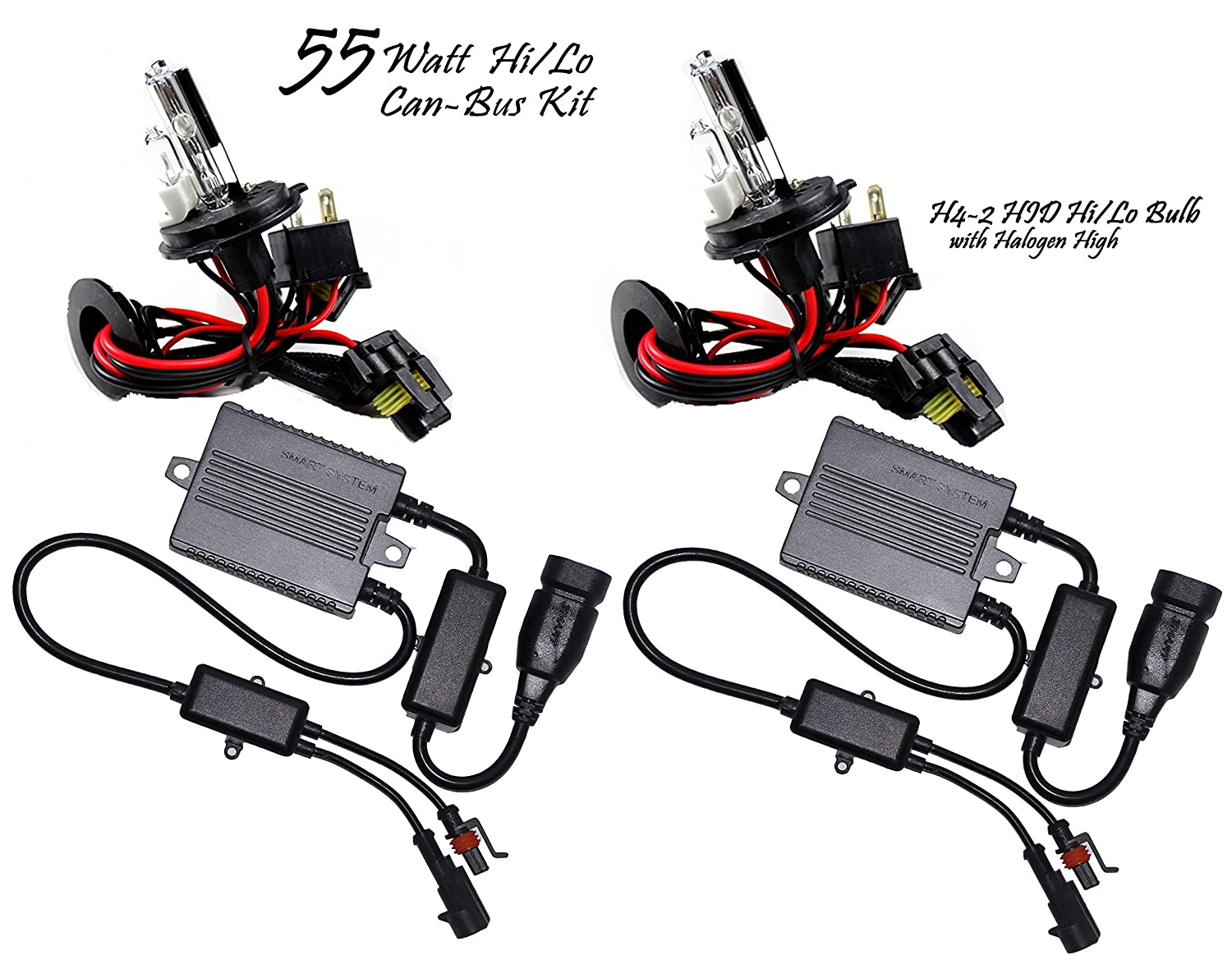 55 Watt Plug N Play W Halogen High Can Bus Hid Kit What Is A Canbus Wiring System 9008 H13 Low 6000k Crystal White Car Electronics