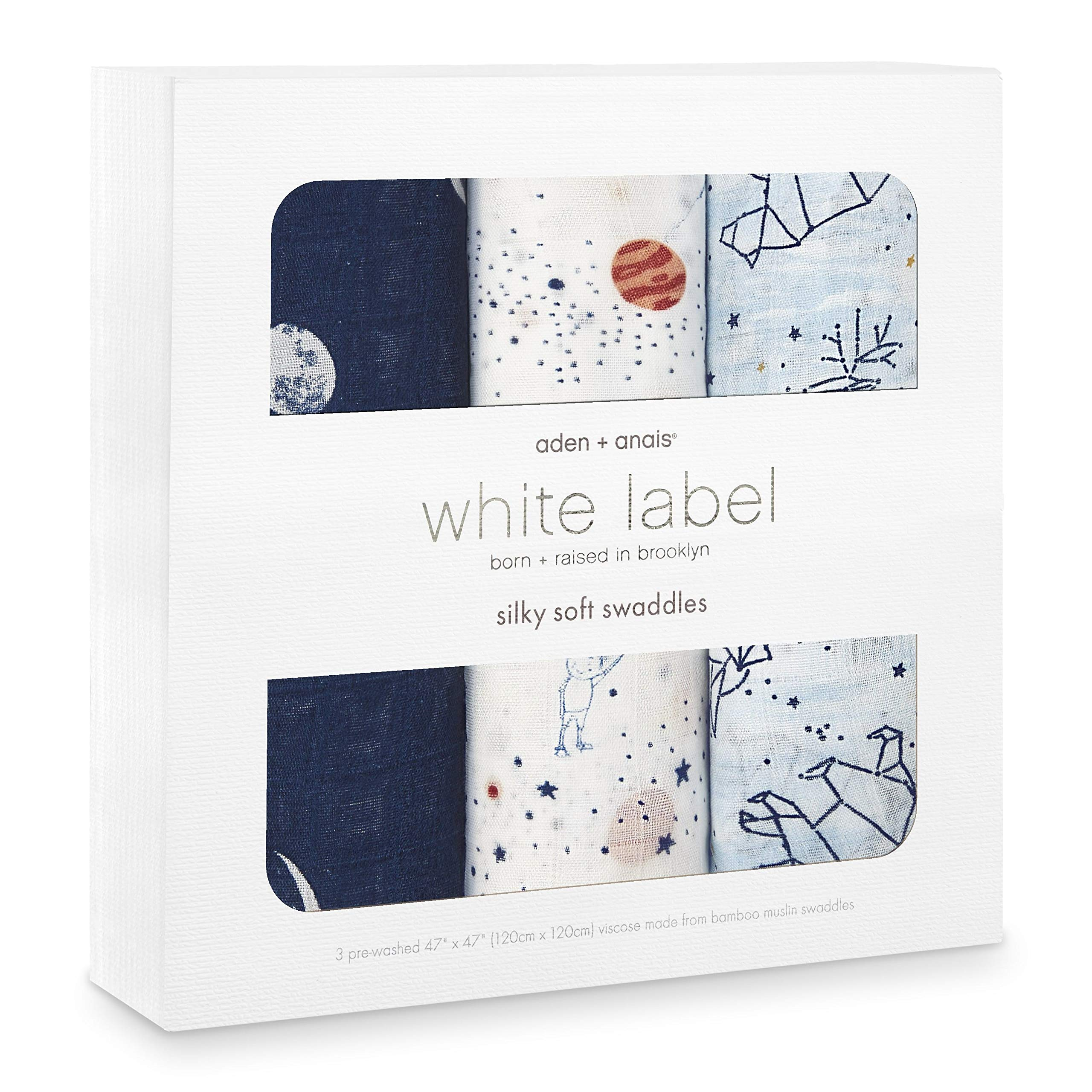 aden + anais Silky Soft Swaddle Baby Blanket, White Label, 3-Pack, Stargaze by aden + anais