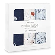 aden + anais Silky Soft Swaddle Baby Blanket, White Label, 3-Pack, Stargaze