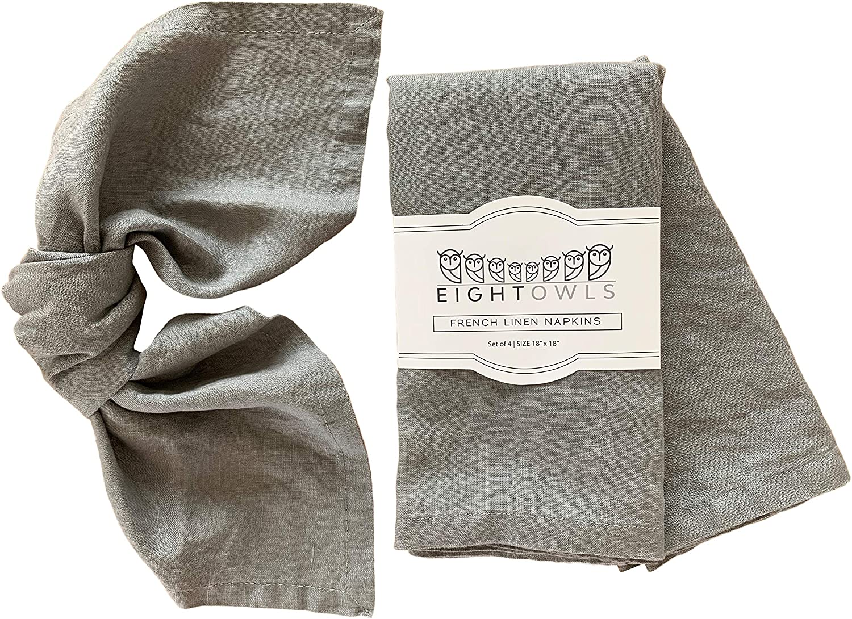 Set of linen napkins French linen Linen cloth napkins. coutry style linen Cottage Pale grey Linen napkins Stonewashed