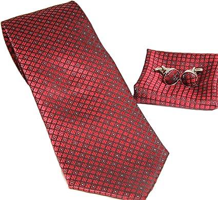 MONETTI Set de Corbata - 100% seda - a cuadros roja fina - en la caja de regalo!