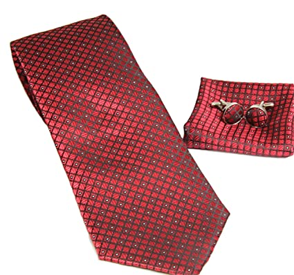 MONETTI Set de Corbata - 100% seda - a cuadros roja fina - en la ...