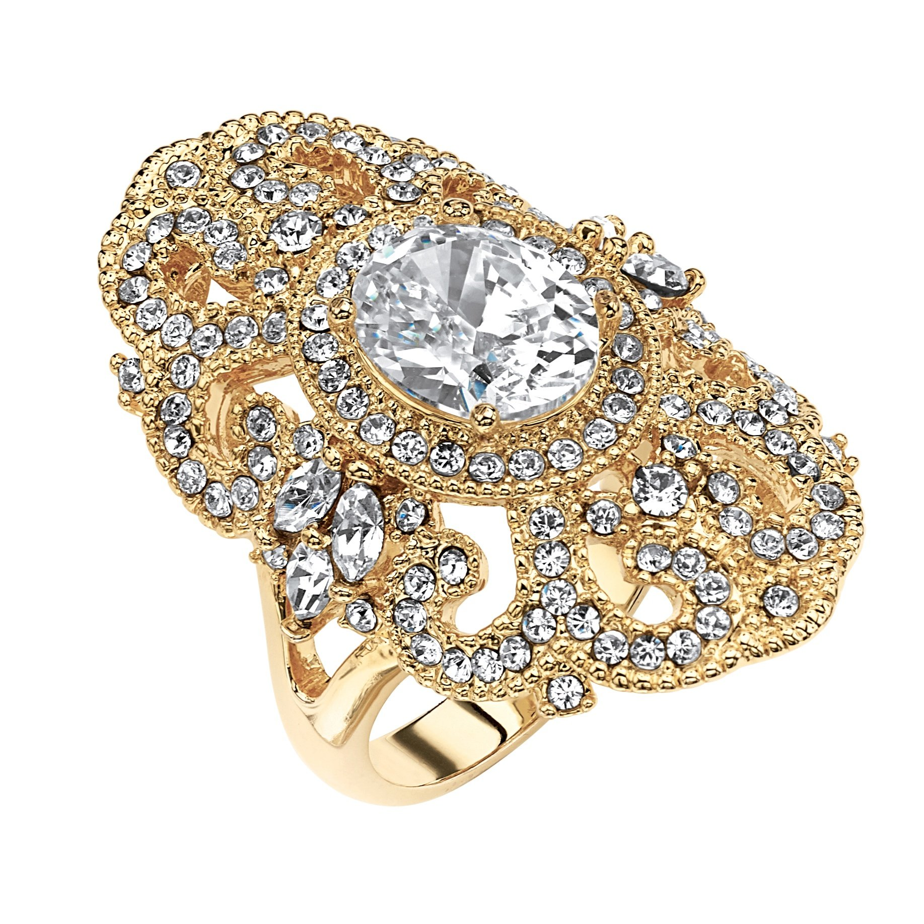 Palm Beach Jewelry White Cubic Zirconia 14k Gold-Plated Vintage-Style Scroll Cocktail Ring Size 6