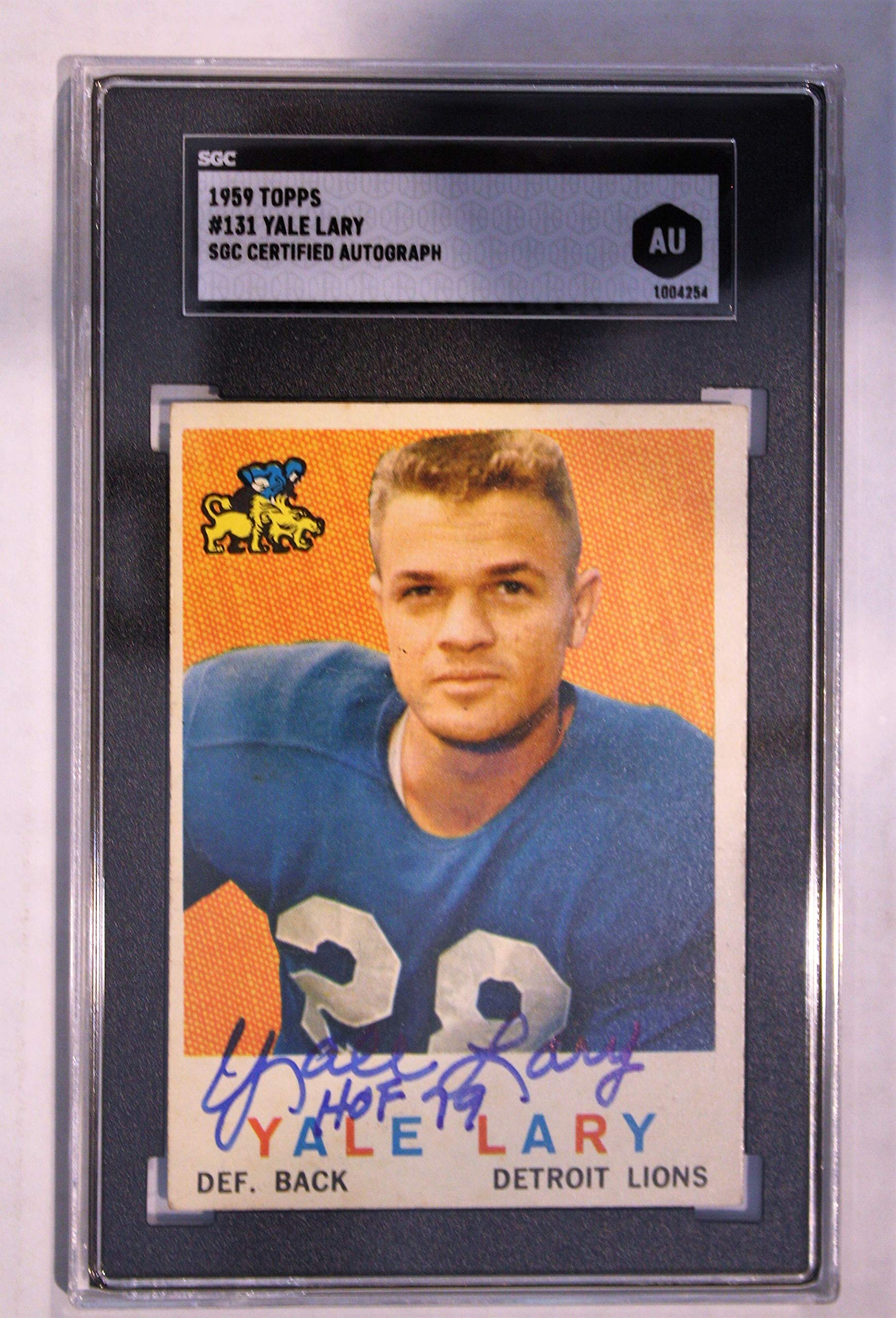 Autographed Yale Lary Detroit Lions 1959 Topps Card, 131 SGC Slabbed