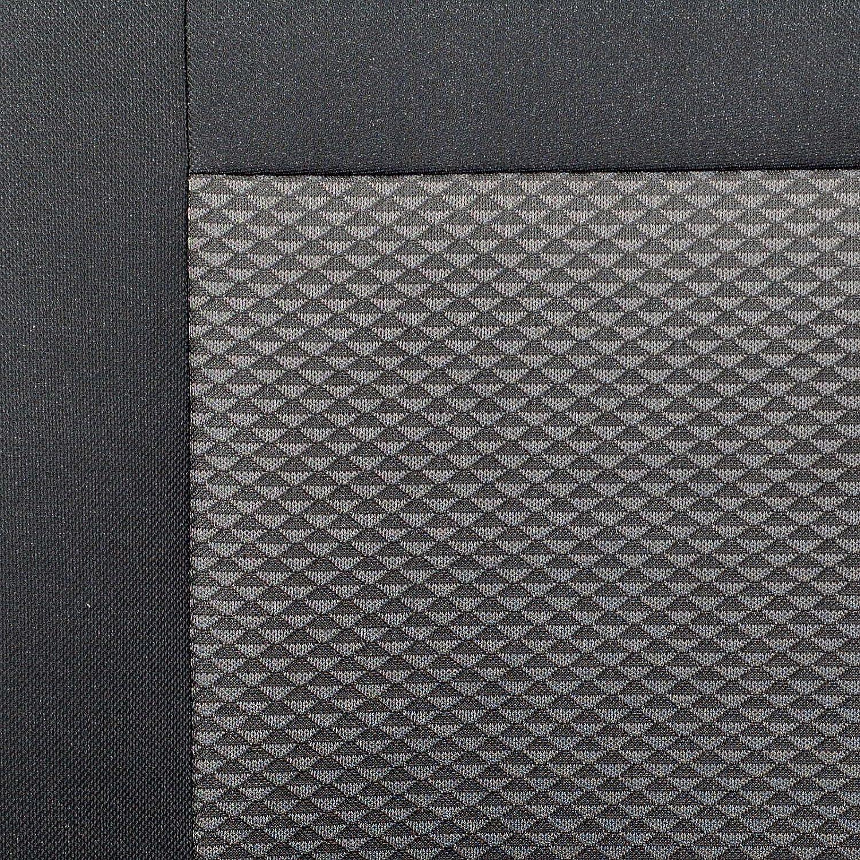 Zakschneider Fundas De Asiento para IVECO Daily Color Premium Negro con Tri/ángulos Grises Conjunto De Fundas 1+2