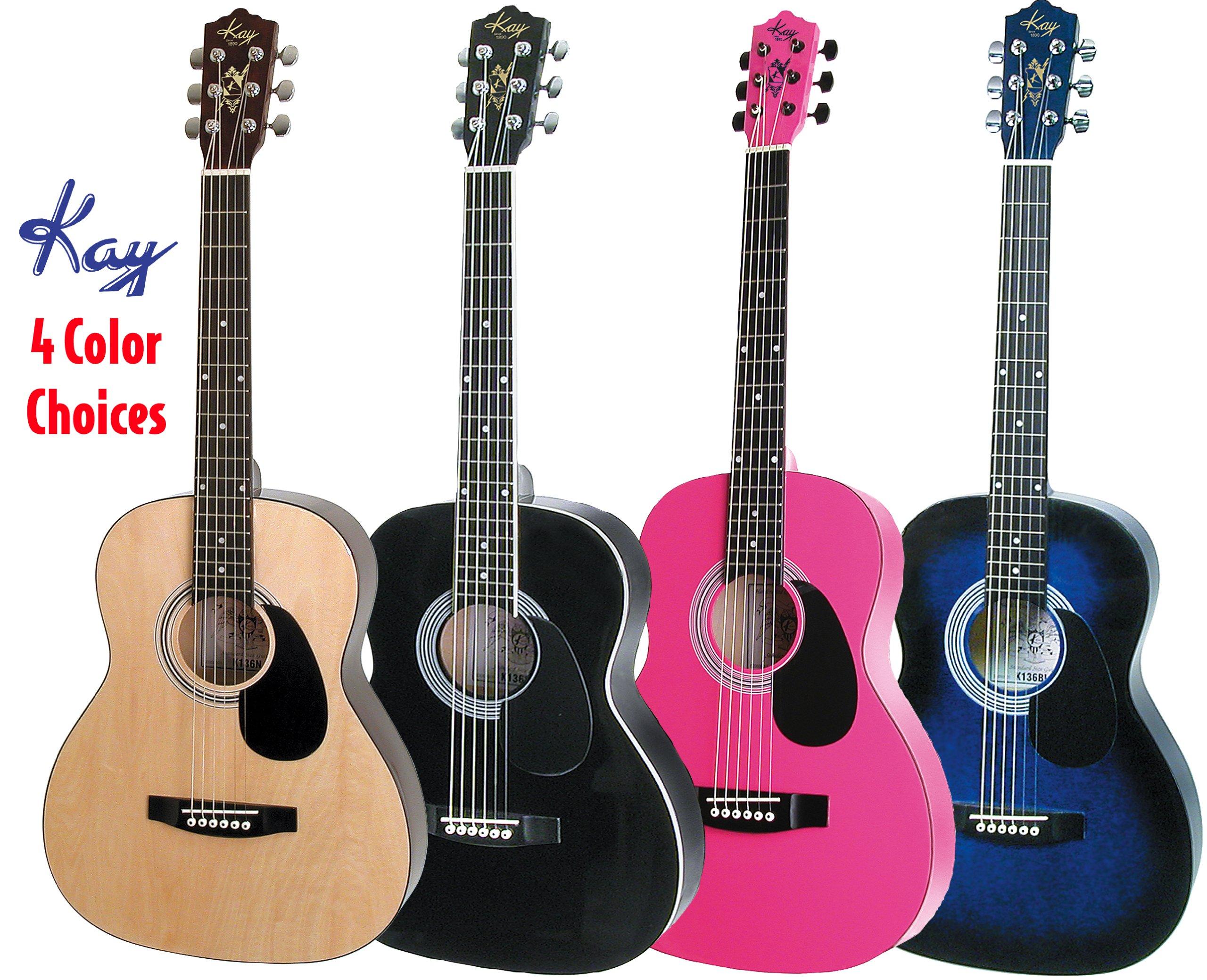 Kay Guitar K137N Acoustic 36-Inch Standard Steel String Guitar - Natural Top