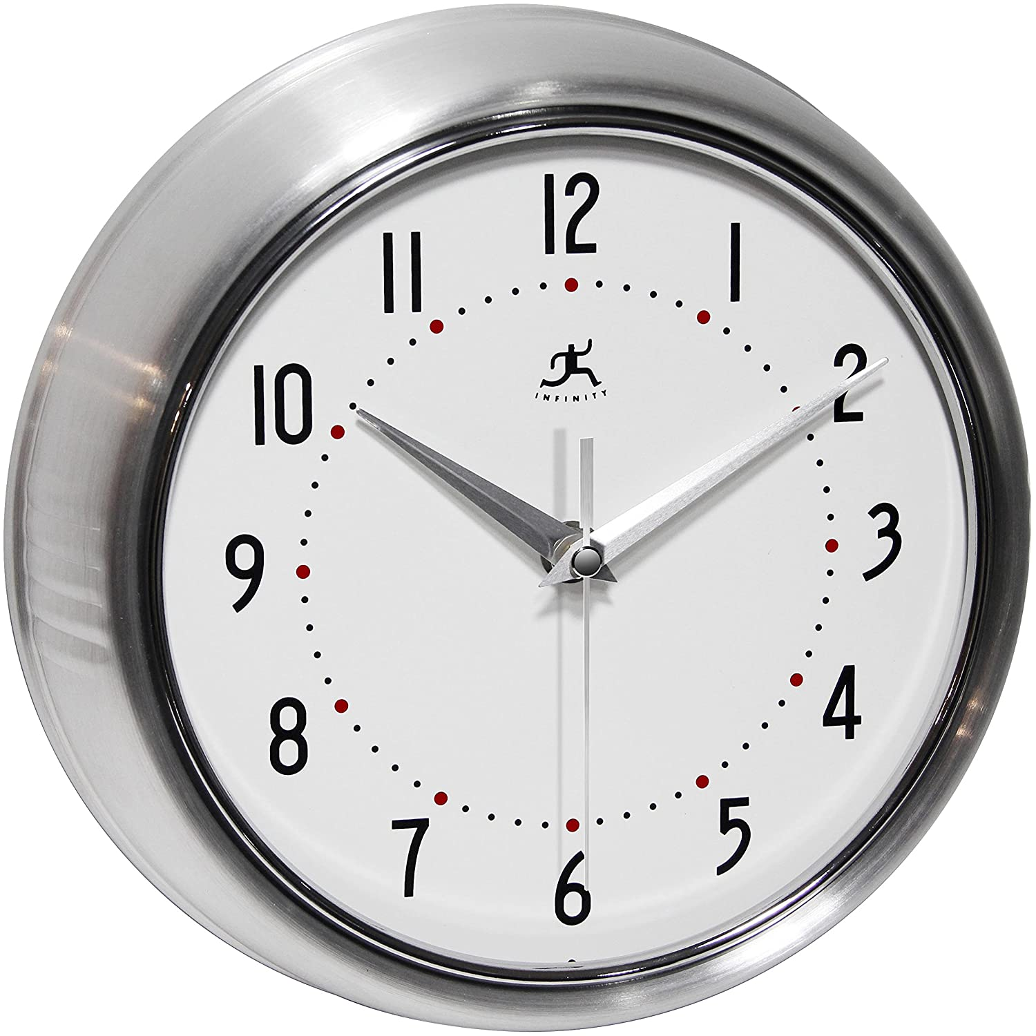 Amazon com  Infinity Instruments Retro Silver 9 5 Inch Wall Clock Home Kitchen